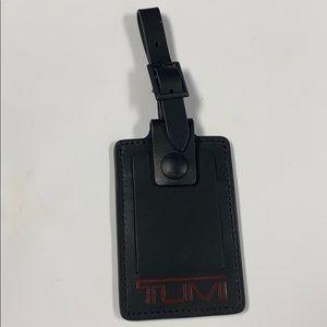 TUMI Black Leather Luggage Tag